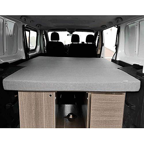 K´Foam Store Colchón Plegable para Renault Trafic, Opel Vivaro y Nissan Primastar Modelo Combi (2002-2014) 155x190x8 cm Color Gris Furgoneta Camper