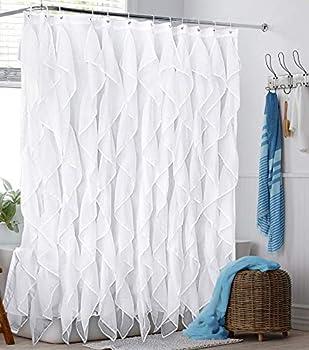 Reisen White Ruffle Shower Curtain Fabric / Cloth Farmhouse Bathroom Sheer Shower Curtain 72in Long