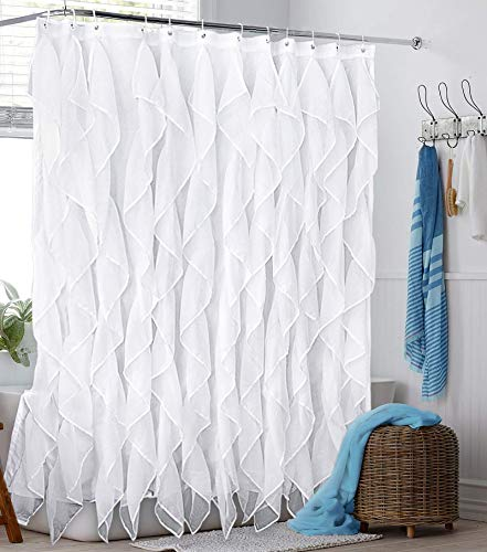 Reisen White Ruffle Shower Curtain Fabric / Cloth Farmhouse Bathroom Sheer Shower Curtain, 72in Long