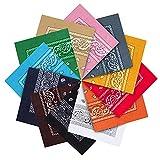 Kurtzy Baumwolle Bandana Set (12er Pack) - Multifunktionale Große Paisley Bandana Kopftücher Damen, Männer und Kinder - Taschentuch/Halstuch Verwendung als Cowboy Bandana Tuch und für Haustiere