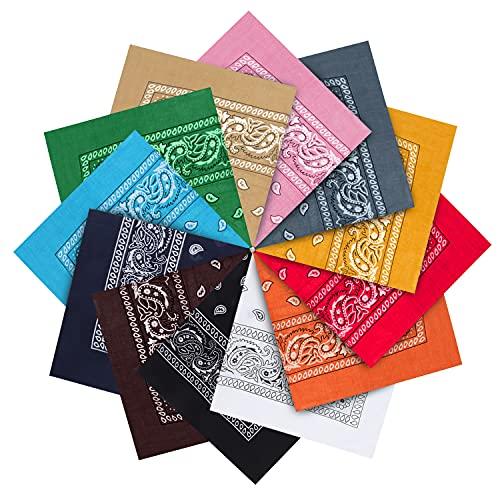 Kurtzy Set Pañuelo Cabeza de Algodón Colores Variados (Pack de 12) Bandana Hombre, Mujer y Niños Pañoleta Multiusos – Accesorio Pañuelo para Vaqueros, Mascotas y Cinta para la Cabeza