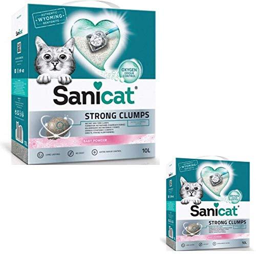 Sanicat Ultra Gruming Arena para gatos 2 X 10L Natural Fuerte Grump, Desodorizante sin polvo, agradable aroma fresco de polvo para bebés