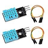 2pcs DHT11 Temperature Humidity Sensor Module Digital Temperature Humidity Sensor 3.3V-5V with Wires for Arduino Raspberry Pi 2 3 (2pcs DHT11)