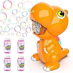 Baztoy Máquina Burbujas, USB Recargable Maquina Pompas Jabon para Niños con 4 Botellas Pompas de Jabón, Juguete de Baño Pomperos para Niños 3 4 5 6 7 8 9 10 11 12 Años Regalos Navidad Cumpleaños