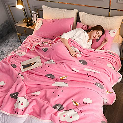 Rosa Tiro Manta Nubes Impresión en la manta de lanzamiento Coral Fleece lanza Luxury Peluche Fuzzy suave Mullido Acogedor for sofá Sofá cama Mujeres Hombres Bebé Niños Perros Pets Otoño Decoración de