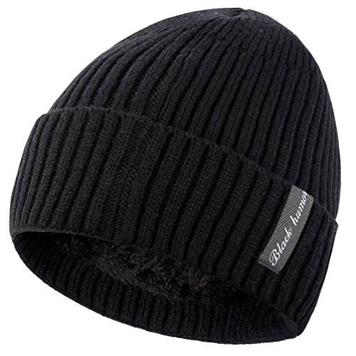 Novawo Bonnet unisexe avec doublure intérieure en polaire, bonnet épais et chaud - Noir - Taille Unique