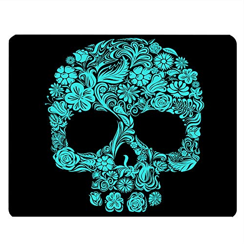 Nicokee Skull Gaming Mousepad Green Black Sugar Skull Mouse Pad Mouse Mat for Computer Desk Laptop Office 9.5 X 7.9 Inch Non-Slip Rubber