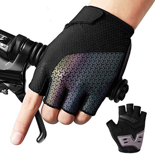 AVIDDA Fahrradhandschuhe Für Herren Damen,Fingerlose Fahrradhandschuhe Gel Stoßdämpfende,Atmungsaktiv Rutschfestes Radsporthandschuhe,Nacht Reflexion Mountainbike Handschuhe Für MTB Fitness