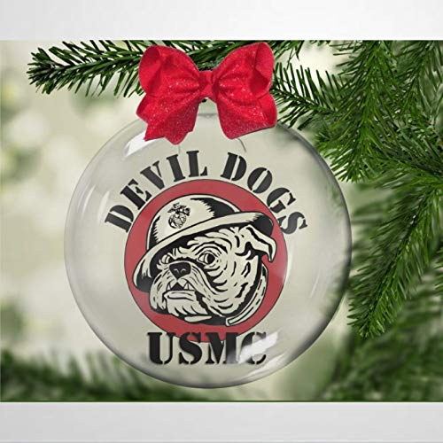DONL9BAUER Marine Devil Dogs Christmas Balls Ornaments for Xmas Tree Family, Devil Dogs,Patriot, Hero Hanging Ball Shatterproof Christmas Decorations for Holiday Wedding Party