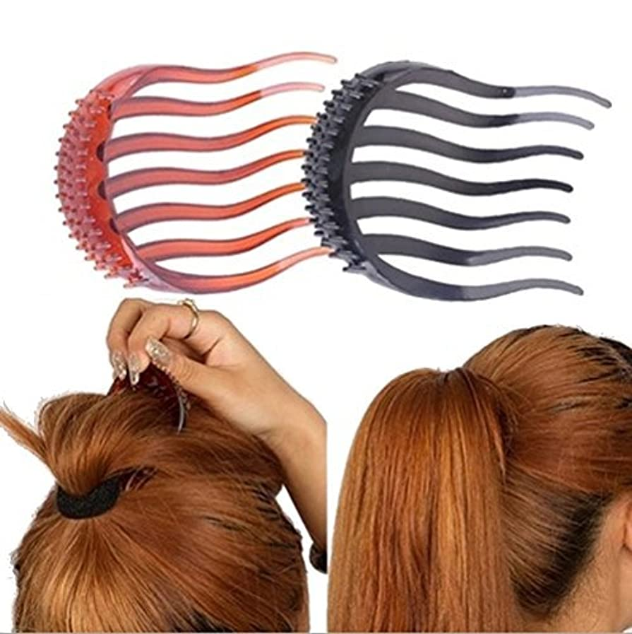 のスコア鑑定忘れる2Pcs Ponytail Bump it UP Hair Styling Insert Comb Fluffy Hair Comb (1Black+1Coffee) [並行輸入品]