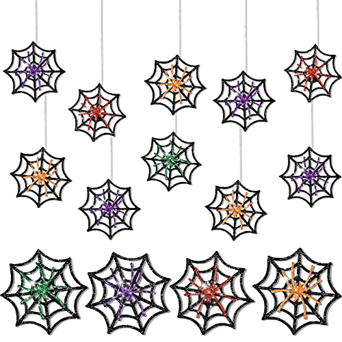 Glitter Halloween Spider Ornaments on Web Halloween Spider Web Ornament for Door Window Wall Indoor Outdoor Decoration Halloween Party Decoration Supplies, 4 Colors (16 Pieces)