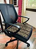 DesignMe Essentials Revolving Chair Seat Cover/Mat/Pad for Office Home for Sweat Free Seating| 100% Cotton | with Foam | Comfortable for Leather Chairs| Golden Design with Straps | Hygienic| Washable