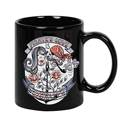 VOODOO ISLAND Tasse mug Petit-déjeuner de céramique Noire 32 cl. Modèle Amour Pirate