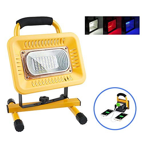 Lanfu 50W 6500K rechargeable LED Work Light, Emergency Flood Lights with 3 Modes and SOS Flash Light, Built in Rechargeable Lithium Batteries, USB Ports, Spotlights Outdoor Camping Fishing Car Repair