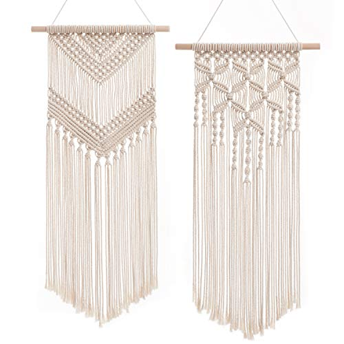 """Dahey 2 Pcs Macrame Wall Hanging Decor Woven Wall Art Macrame Tapestry Boho Chic Home Decoration for Apartment Bedroom Nursery Gallery,13"""" W×26"""" L and13''W×28"""" L"""