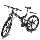 Folding Mountain Bike 26in 21 Speed Bicycle Full Suspension MTB Bikes (Black)