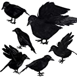 Aneco 6 Pack Realistic Feathered Crows Halloween Fake Crow Black Crows Artificial Crow Halloween Handmade Feathered Crow for Halloween Indoor Outdoors Ravens Birds Decoration