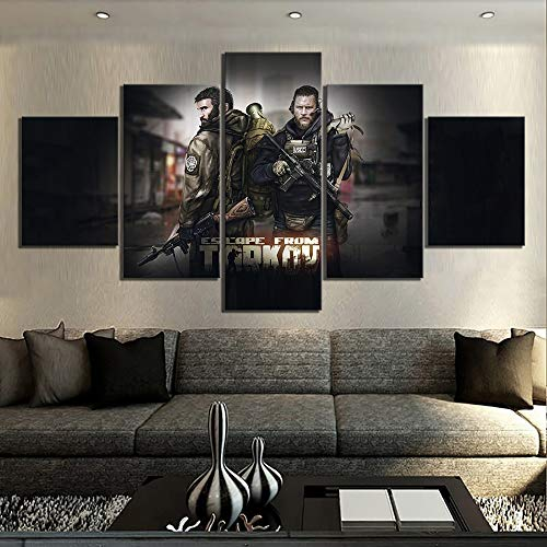 yiyitop Modular Wall Art Canvas Painting Picture 5 Tarkov Game Escape Panel Escape Game Print Poster Living Room Decoration