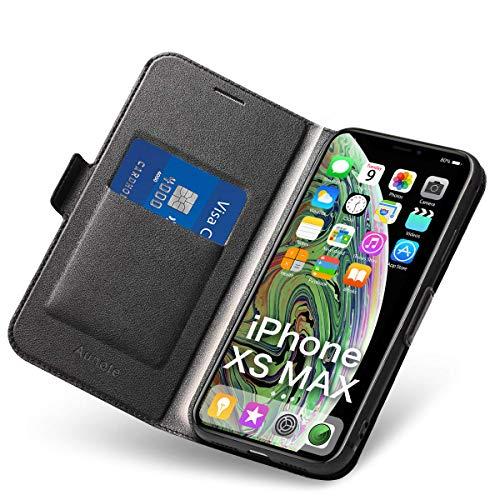 Aunote Handyhülle für iPhone XS Max Hülle, Handyhülle iPhone XS Max Klapphülle, Hülle iPhone XS Max Tasche, Xs Max Schutzhülle, Etui Folio, Flip Phone Cover Hülle, Hülle Apple Xs Max Klappbar. Schwarz