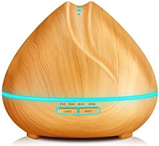 550ml Wood Grain Essential Oils Diffuser Ultrasonic Humidifier Portable Aroma Diffuser with 7 Color LED Lights, Waterless Auto-Off for Yoga, Office, Home, Bedroom, Baby Room,lightcolor