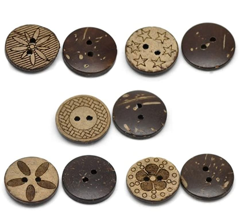 10 Pieces Mixed Pattern Coconut Shell Sewing Buttons 2 Holes 3/4