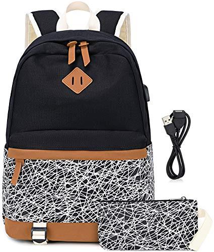 """Leinwand Streifen Rucksack passt 15,6\""""Laptop für Teenager Mädchen mit USB-Ladeanschluss und Handtasche Tasche (Schwarzes Spinnennetz)"""