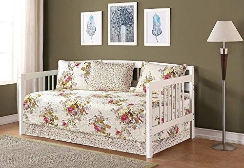 5pc Daybed Cover Set Reversible Quilted Bedspread Floral White Lavender Green Pink New