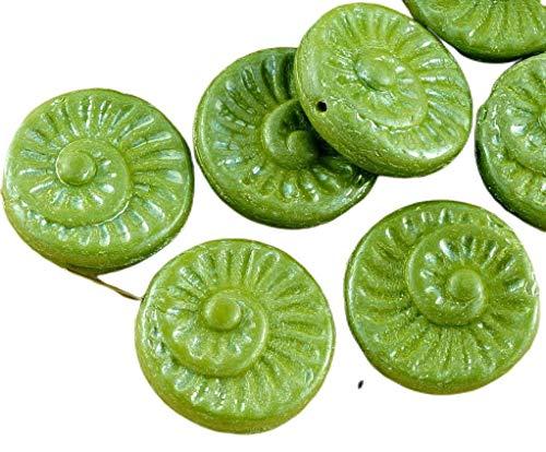 4pcs Opaque de l'Olivine Vert Olive Lustre Nautilus Fossiles d'Escargots en Coquille d'Ammonite Plat Rond Spirale de Pièce de monnaie tchèque Perles de Verre 18mm