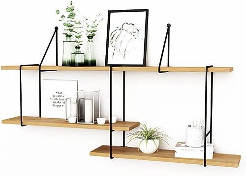 QIANDA Wandregal Schweberegal 3 Stufen Küchenregal Kombination An Der Wand Montiert DIY Bücherregal Eisen Holzmaterial Lagerregal Nordischer Stil, Multi-Größe-Option (Größe   130cm)