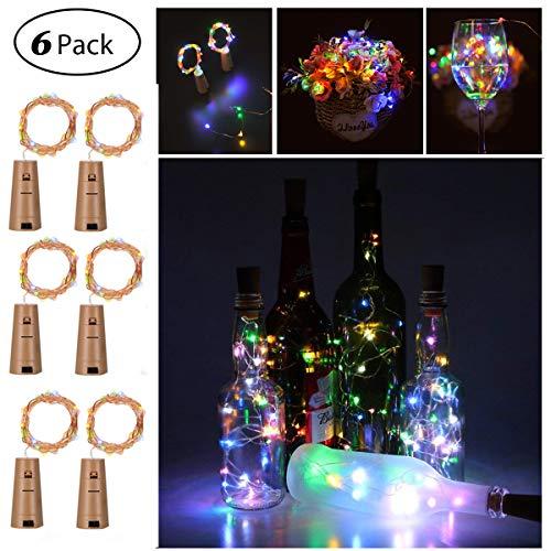 6 Stück LED Flaschenlicht, Sanniu 20 LEDs 2M Lichterkette Kupferdraht batteriebetriebene Weinflasche Lichter mit Kork Schnurlicht für DIY Deko Weihnachten Party Urlaub Stimmungslichter (Multi-colored)