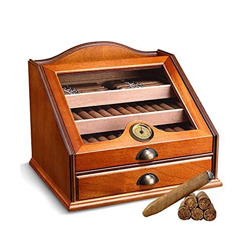 Zigarren Humidor, 4-Lagige GroßRaum-Zedernholz-Retro-Zigarrenkiste, Transparentes Schaufenster, Mit Luftbefeuchter, Hygrometer, Fasst Ca. 100 Zigarren, Geeignet FüR Zigarrenliebhaber