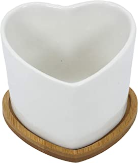 Gemseek Heart Shaped Succulent Planter Pot, White Ceramic Cactus Flower Container Bonsai Holder with Bamboo Drainage Tray for Indoor Home Decor