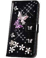 JAWSEU Funda Brillante Brillo Compatible con Huawei P20 Pro, PU Cuero Flip Libro Billetera Soporte Carcasa con 3D Glitter Mariposa Diseño Cierre Magnético Ranura para Tarjetas Protectora Funda,Negra