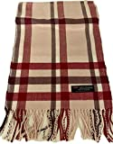 100% Authentic Real Cashmere Plaid Scarf - Unisex (Men/Women) - 12' x 72' long scarf - Birthday Gift/Mother's Day Gift