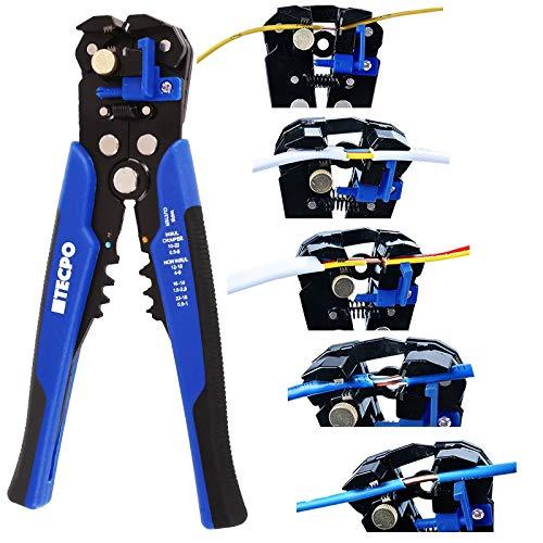 TECPO Automatische Abisolierzange 5in1 Funktion Crimpzange Drahtschneider Multitool zum Schneiden Abisolieren und Crimpen 0.2 bis 6 mm² Kabel 10-24 AWG