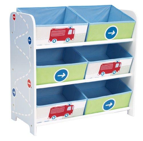 Fahrzeuge - Regal zur Spielzeugaufbewahrung mit sechs Kisten für Kinder