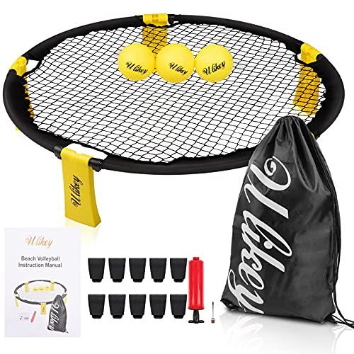 Ulikey Spike Ball Strikeball Roundnet Bounce Volleyball, Pallavolo Spiaggia Mini Spike Battle Ball Kit, Sport di Squadra All'aperto attività per Prato, Spiaggia, Yard, Giardino (Giallo)