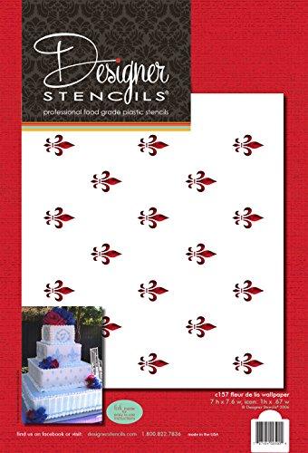 Price comparison product image Designer Stencils C157 Fleur De Lis Miniprint Cake Stencil,  Beige / semi-transparent