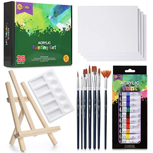 RISEBRITE Acrylic Paint Set with Canvas – 25Pcs Painting Kit Includes Mini Easel, Premium Painting Supplies, Brushes, Art Canvases and More   Painting Set for Kids, Beginners, or Budding Artists
