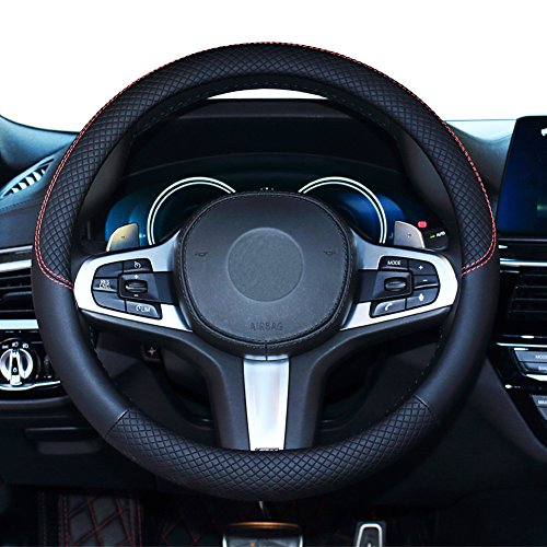SHIAWASENA Car Steering Wheel Cover, Leather, Universal 15 Inch Fit, Anti-Slip & Odor-Free (Black)