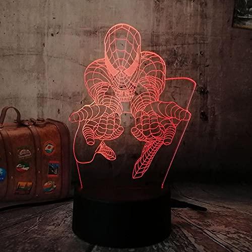 3D ilusión lámpara Marvel Comics Los Vengadores Spiderman Multi RGB Boy Decro Mesa Escritorio Dormitorio-7 Colores cambiantes