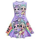hildren's Dress,Cartoon LOL Surprise Kids' Dress, Casual, Girls' Dress, Everyday Wear, Floral Dress, Spring, Summer, Bowknot (パープル, 120)