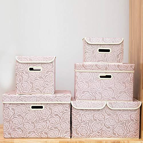 Mdsfe Faltbare Aufbewahrungsbox Stoff Kleidung Aufbewahrungsbox Würfel Kinderspielzeug Aufbewahrungsbox Behälter mit Deckelkorb - S, Blau