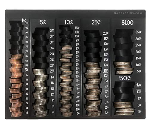 Nadex Coin Handling Tray   Bank Teller and Change Counter Coin Counting and Sorting Tray with 6 Compartments for U.S. Coins with Cover - 32 Coin Wrappers Included (Black)