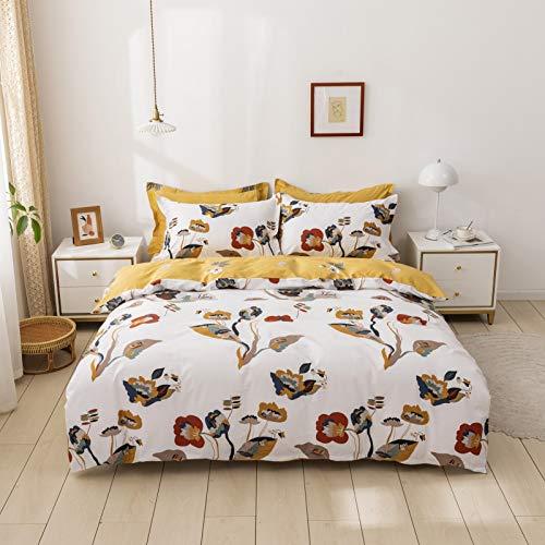 USTIDE Kids Bedding Set White Girls Bedding Sets Double Size Floral Birds Toddler Duvet Cover Set Cotton 3-Piece Zipper Closure(No Comforter Included)