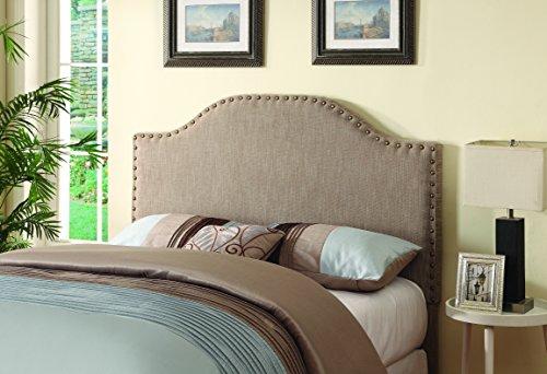 Coaster Fine Furniture Cabecera Queen Tapizada En Tela Color Gris Oxford Y Remaches Alrededor Parte Frontal, Medida 1.61cm Ancho x 1.37 Alto, Se Puede Ajustar A Cama Matrimonial