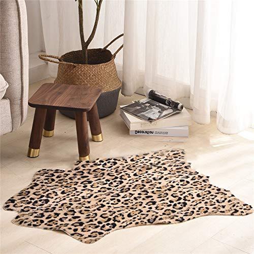 Homeure Kuhfell-Teppich Rutschfester Kunstfell Teppich,Teppich aus Rindsleder 60 * 90 cm Faux...