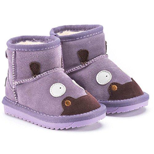 Snugs Boots Kinderstiefel aus Lammfell und Wild-Leder Stiefel für Kinder Jungen und Mädchen Lammfellschuhe, Lila, 24