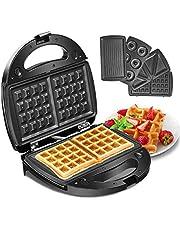 Godmorn 4-in-1 wafelijzer, wafelautomaat, wafelmaker, sandwich-broodrooster, panini-machine, donut-productiemachine, antiaanbakplaat, 750 W, automatische temperatuurregeling