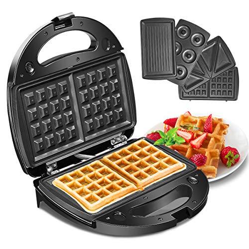 Godmorn Waffle Maker 4IN1, tostapane sandwich, griglia pressa Panini, macchina per ferro Donut Donut Maker, piastre di rivestimento antiaderenti profonde, 750W, controllo automatico della temperatura